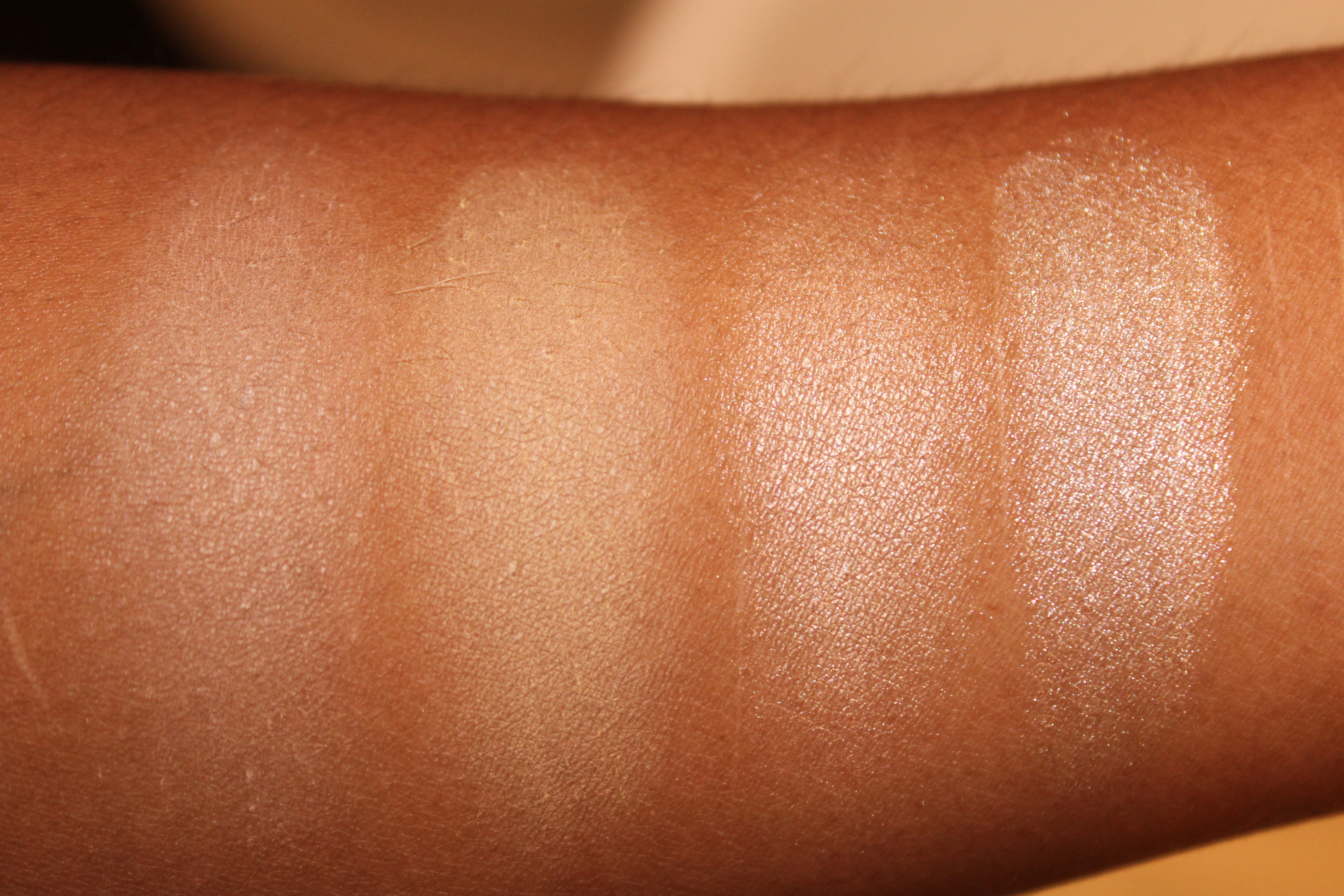 So These Are The Swatches, And As You Can See, Even Though I Have Quite A Dark  Skin Tone, The Pigmentation Is Stunning! The Bronzers Don't Really Show Up  On